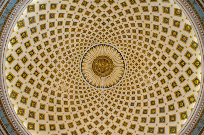 Ceiling in the Rotunda of Mosta (church) Malta
