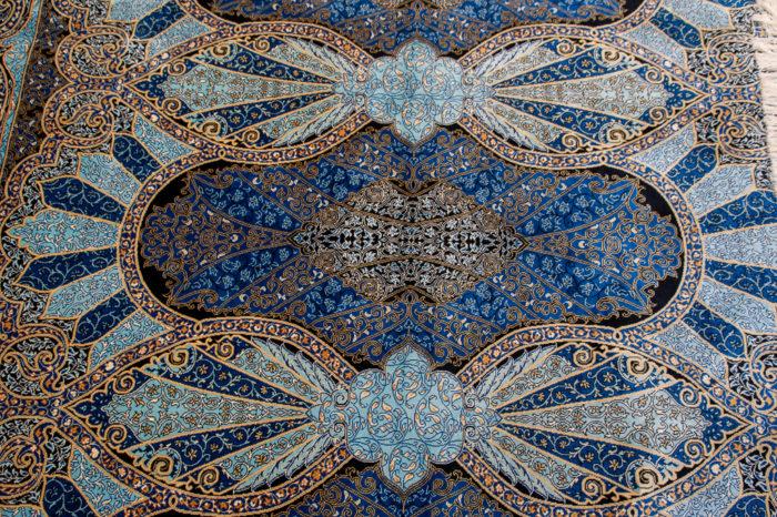 Blue silk rug - Kuşadasi